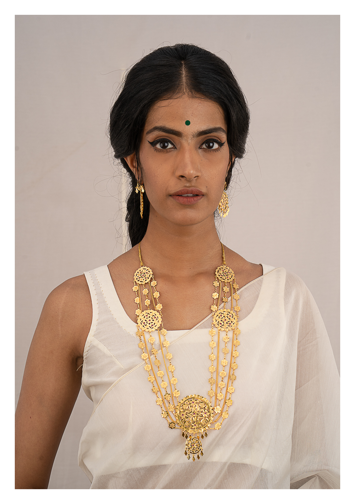 Gulbano Gold Tone Silver Necklace & Earrings Set