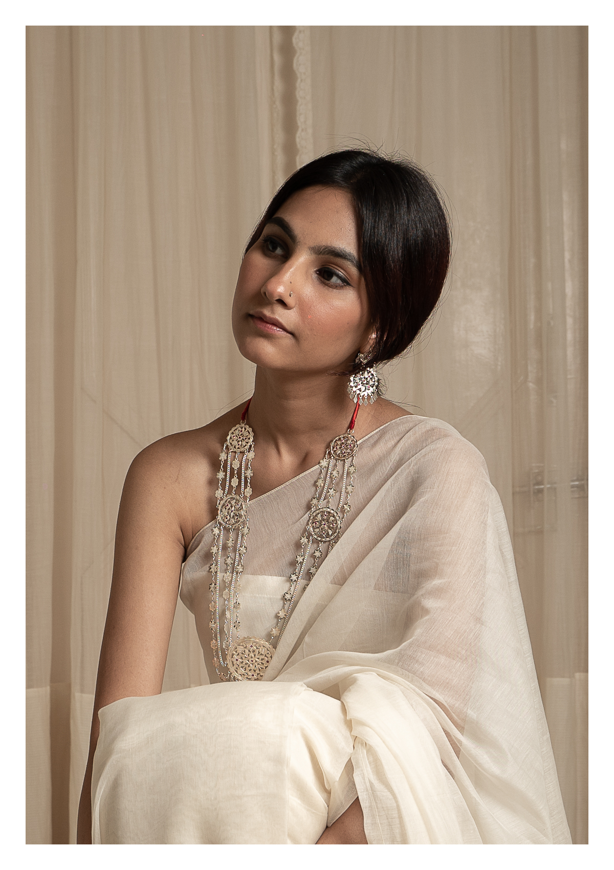 Gulbano Silver Necklace & Earrings Set