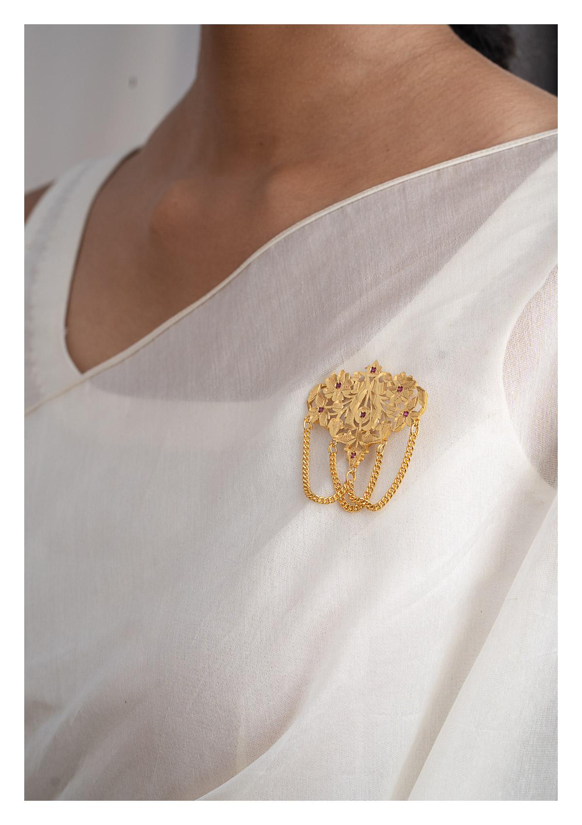Guljan Gold Tone Silver Brooch