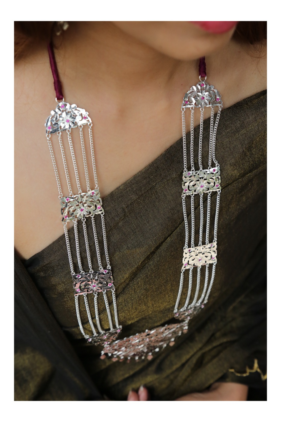 Rani Handmade Silver Necklace and Earrings Set