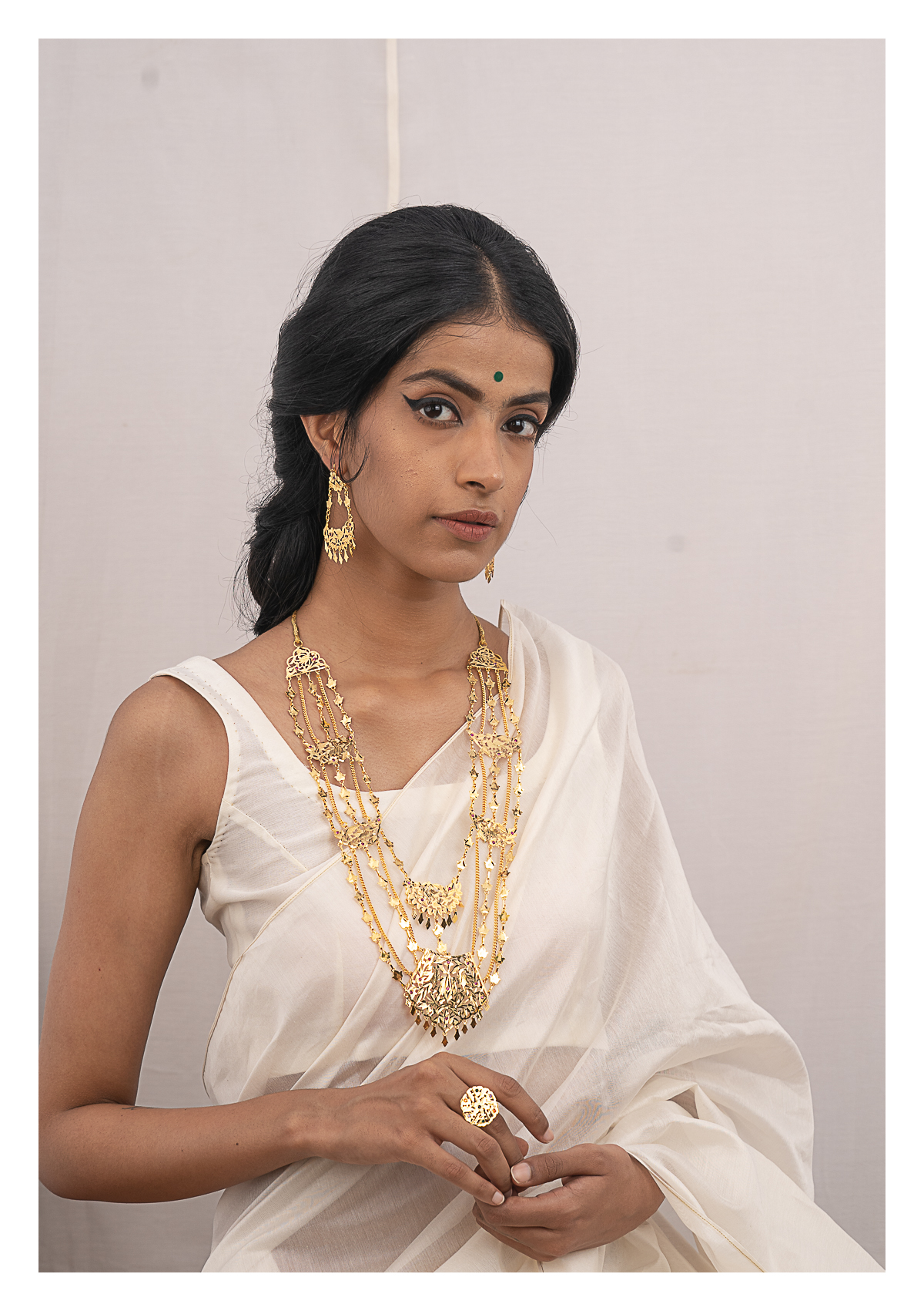 Indrani Gold Tone Necklace & Earrings Set
