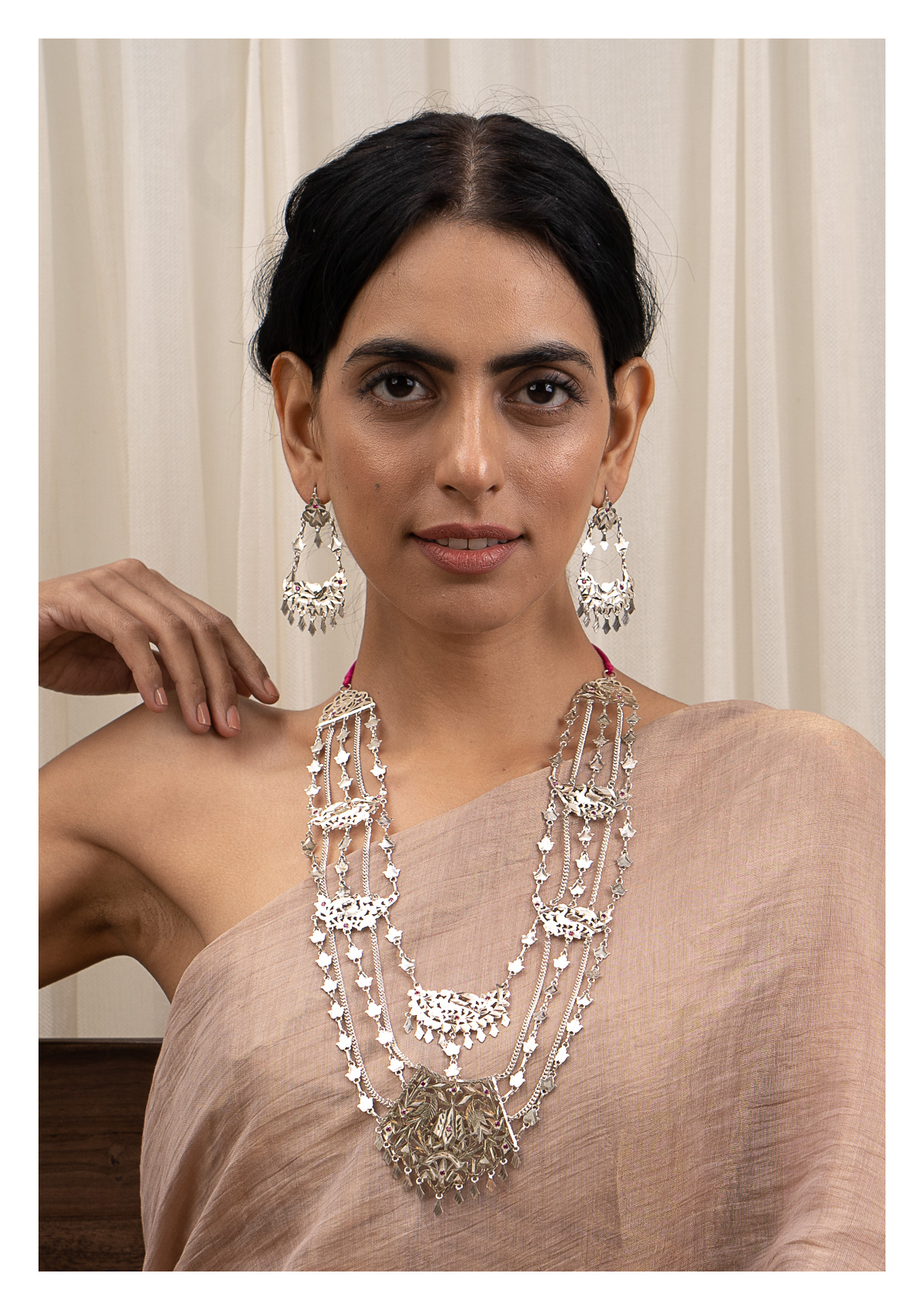 Indrani Silver Necklace & Earrings Set