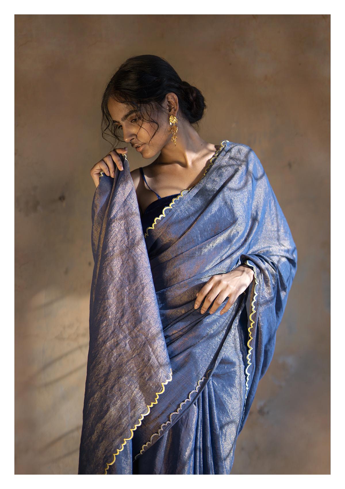 Ink Blue Tissue Chanderi Saree