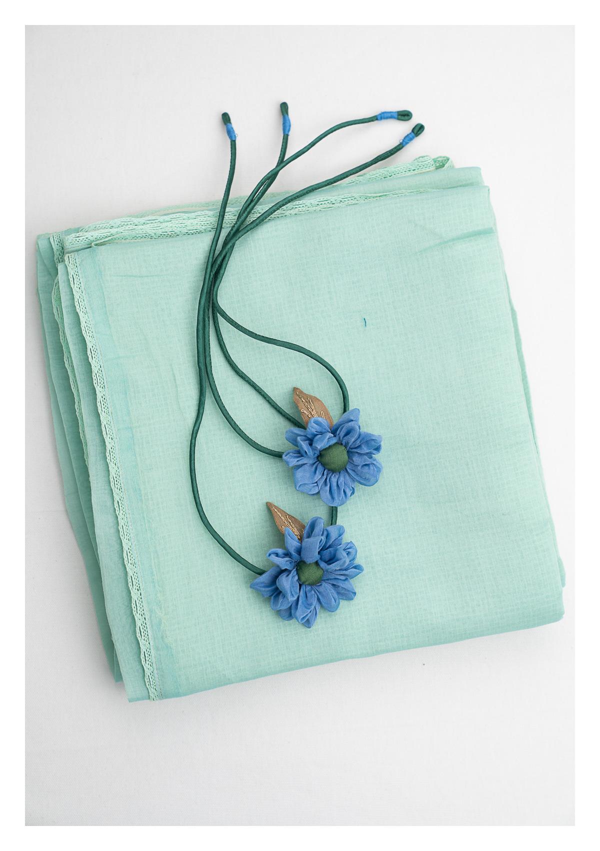 Jade Green Chanderi Sheer Curtains- Set of 2