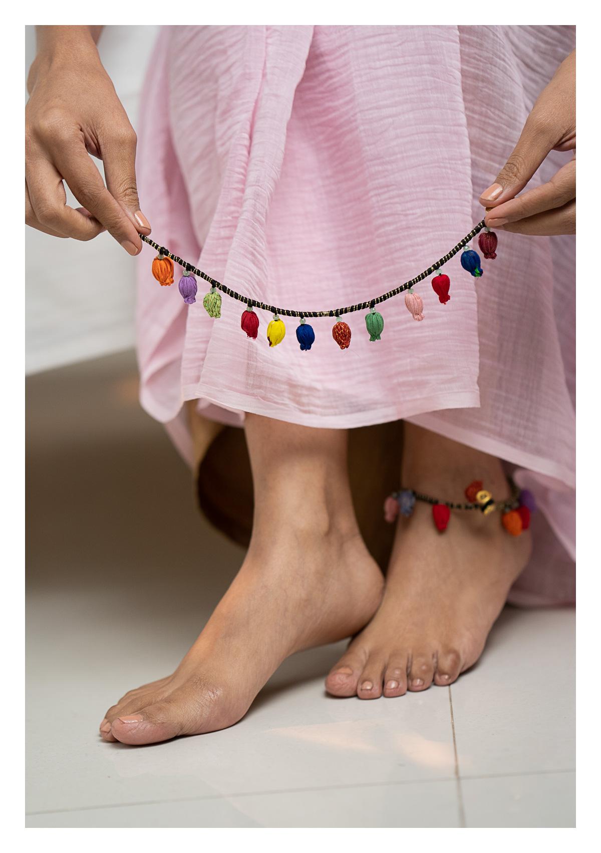 Jeena Textile Anklets - Set of 2
