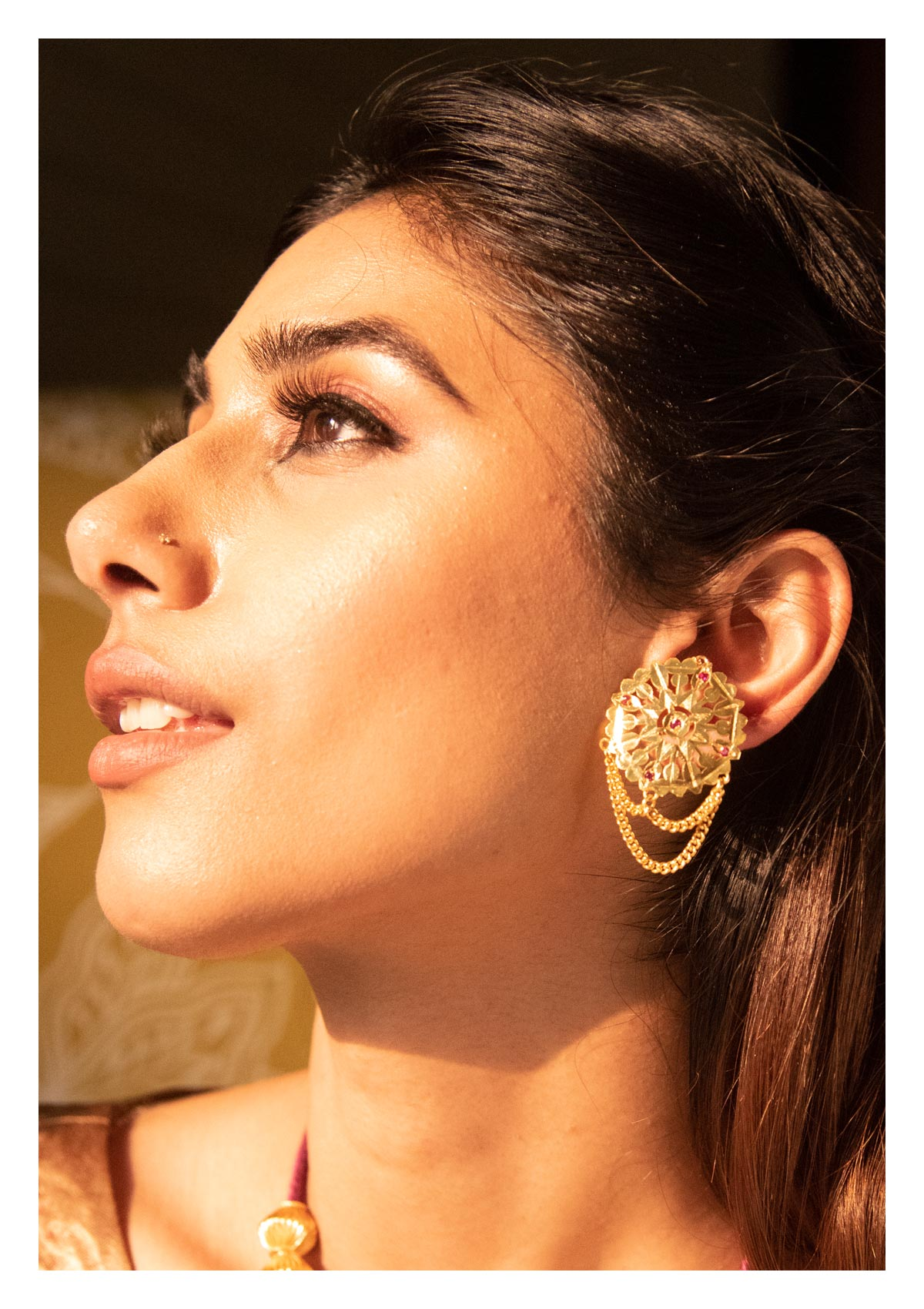 Dola Handmade Gold Plated Silver Studs
