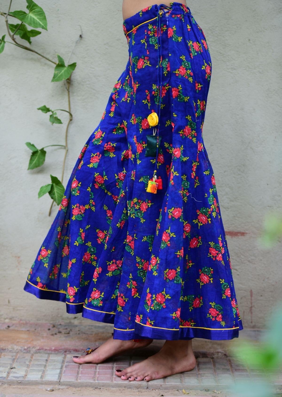 Kanchan Blue Flower Print Cotton Sharara