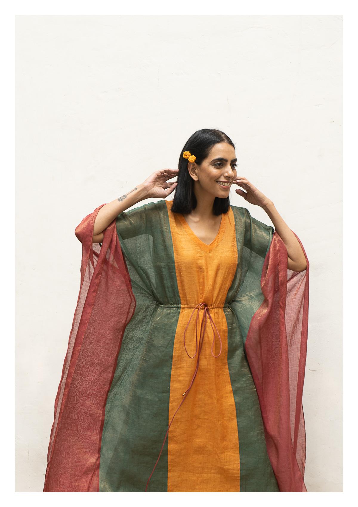 Basho Multicolored Tissue Chanderi Kaftaan Pant Set