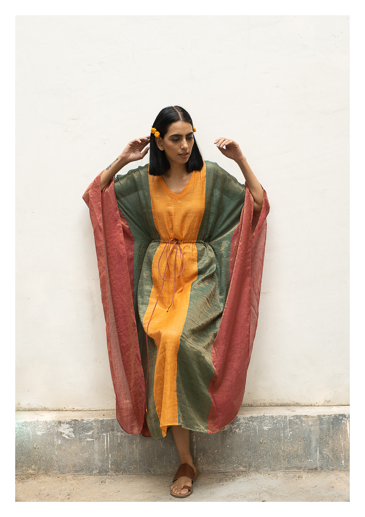 Kaya Multicolored Tissue Chanderi Kaftaan