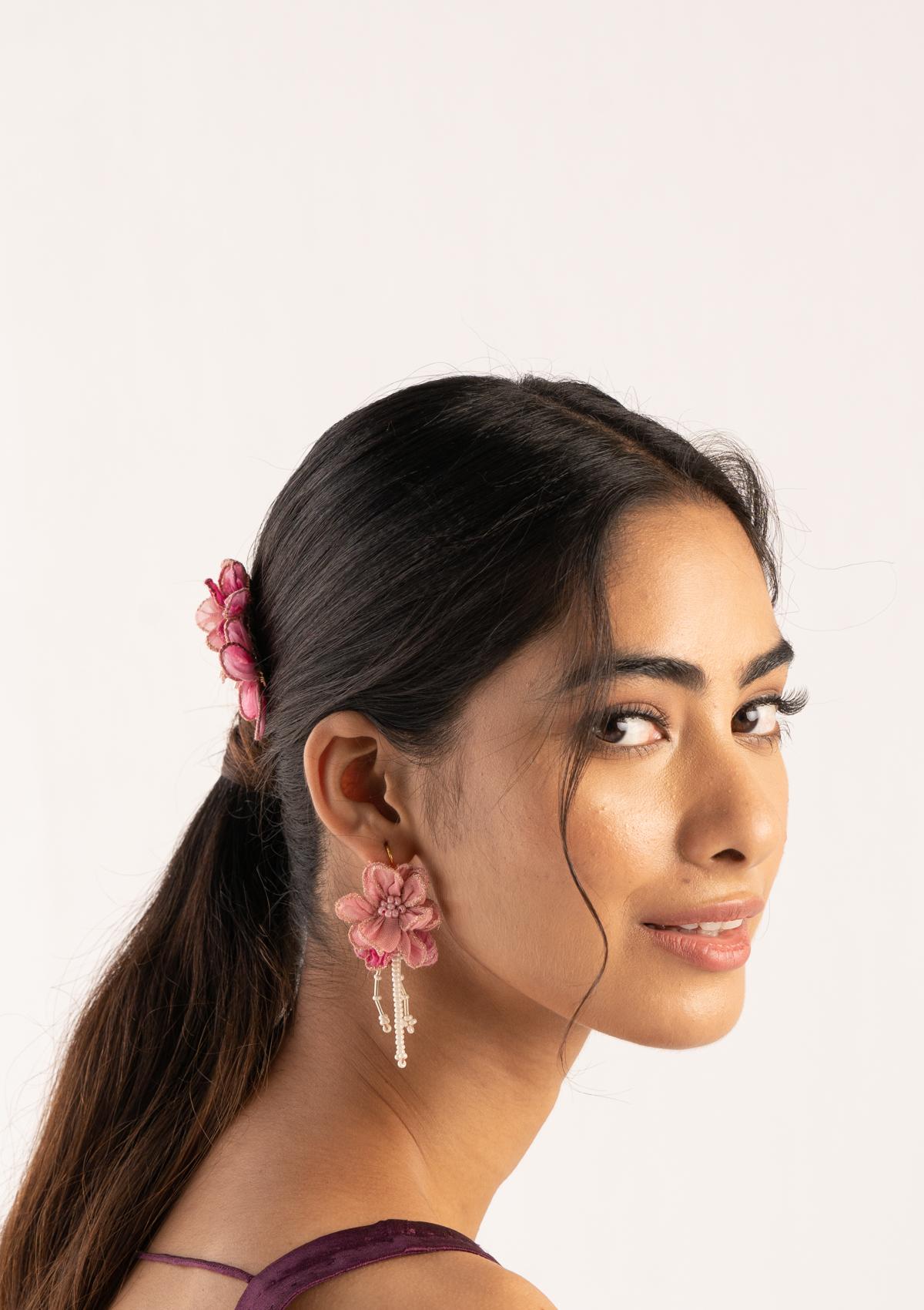 Enni Pink Floral Earrings