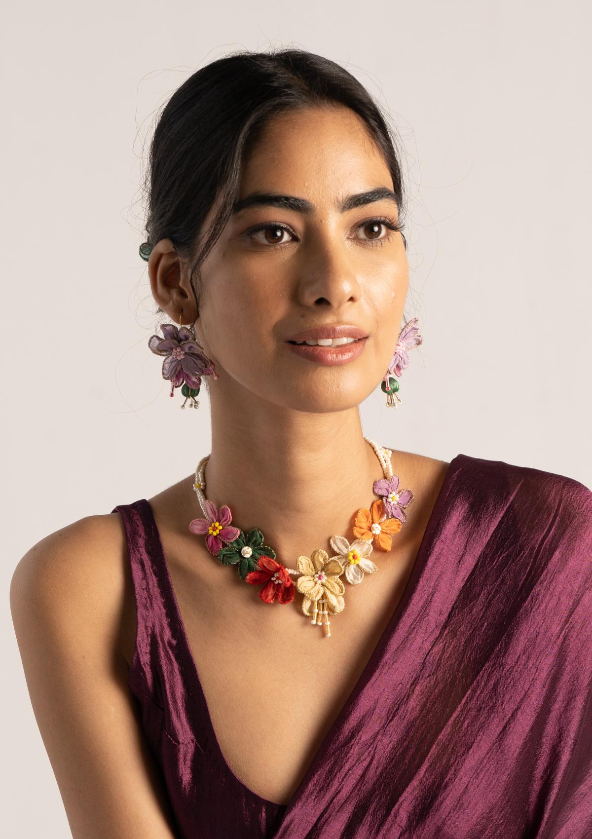 Tiril FloralTextile Necklace