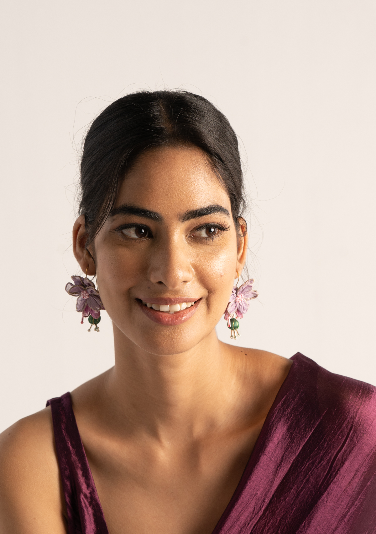 Wilma Floral Textile Earrings