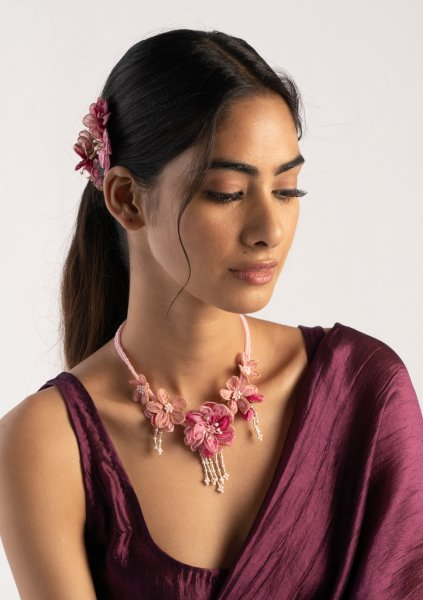Clara Floral Textile Necklace