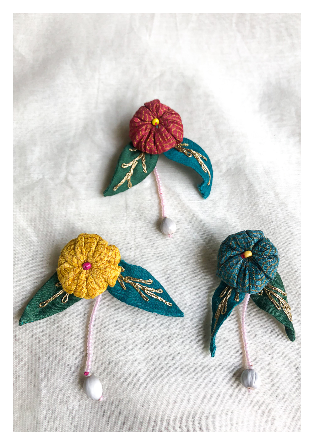 Nora Handmade Textile Buttons - Set of 3