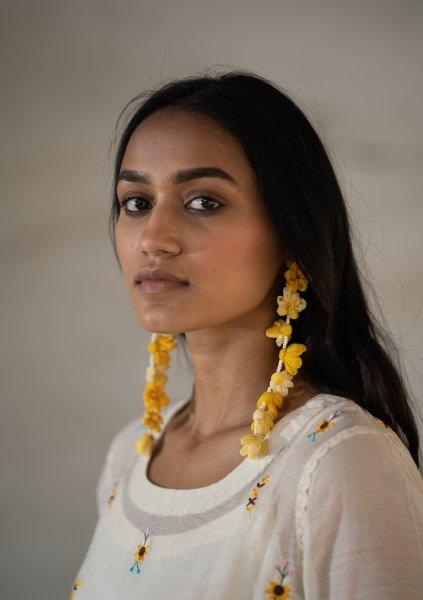 Bassoon Yellow Textile Earrings