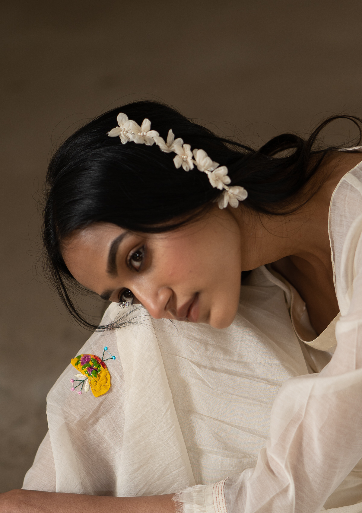 Viola White Textile Earrings