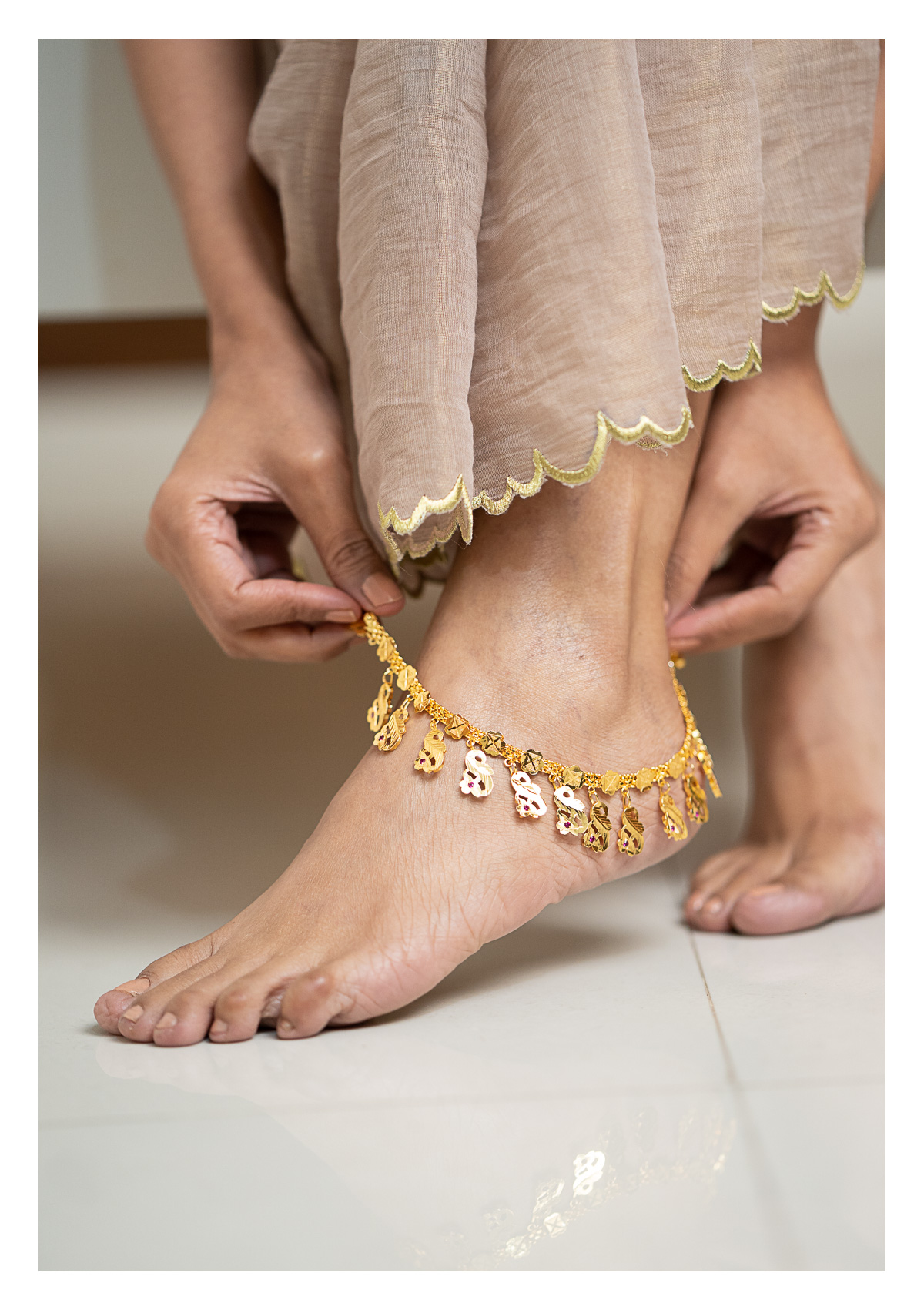 Mohini Gold Tone Silver Anklets