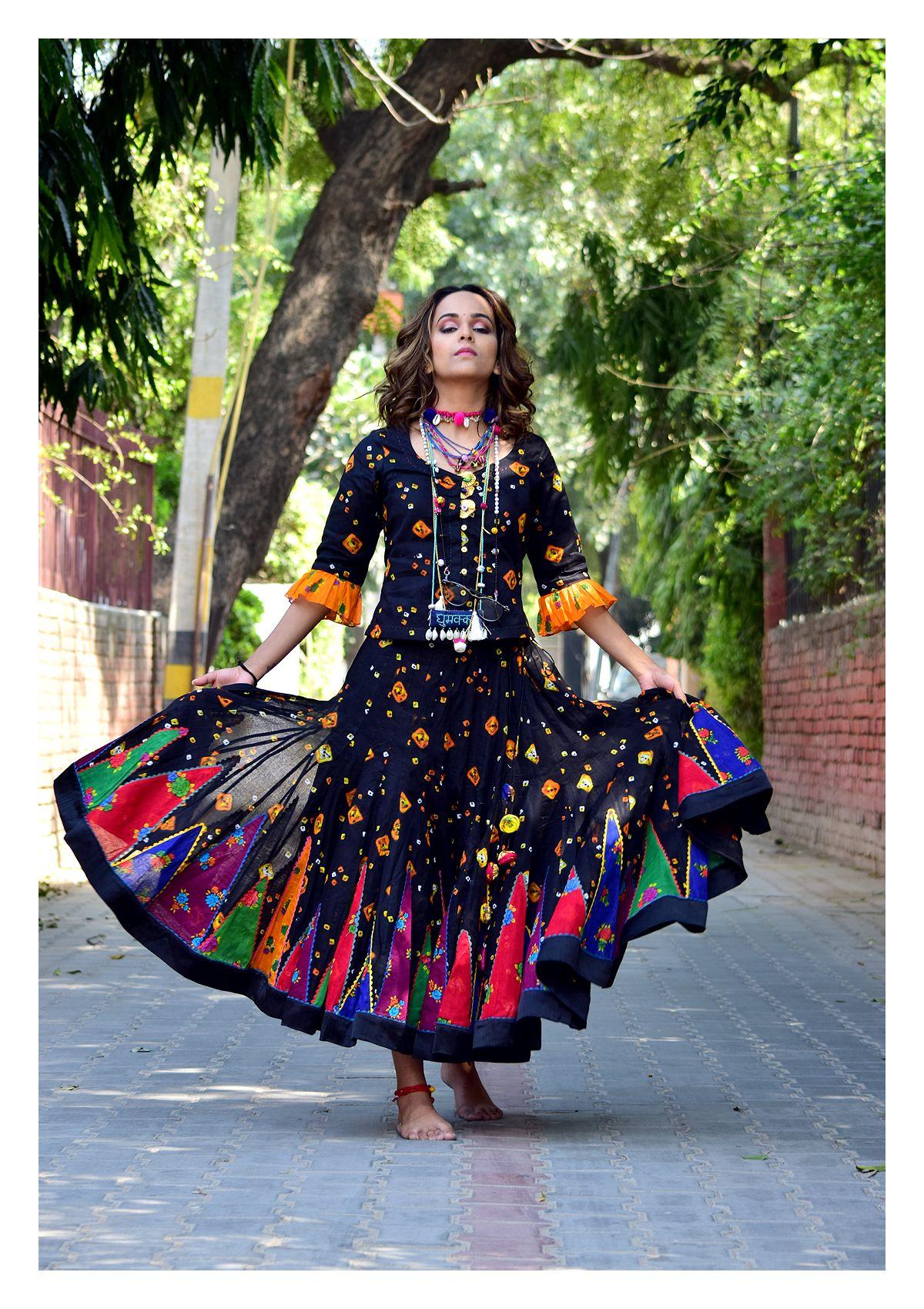 Ilona Black Bandhni Blouse Skirt Set