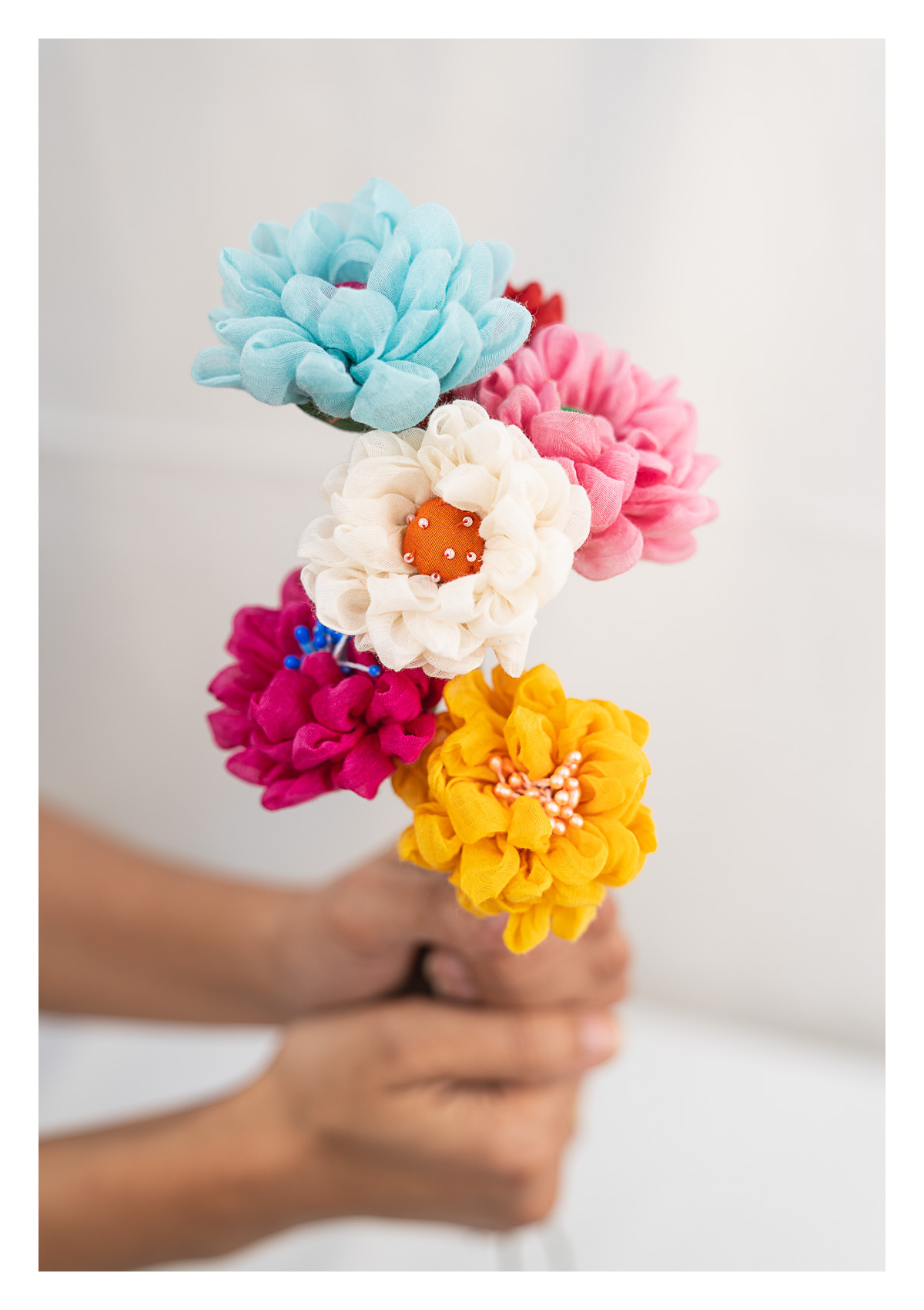 Aster Multicolor Handmade Textile Flowers Bunch