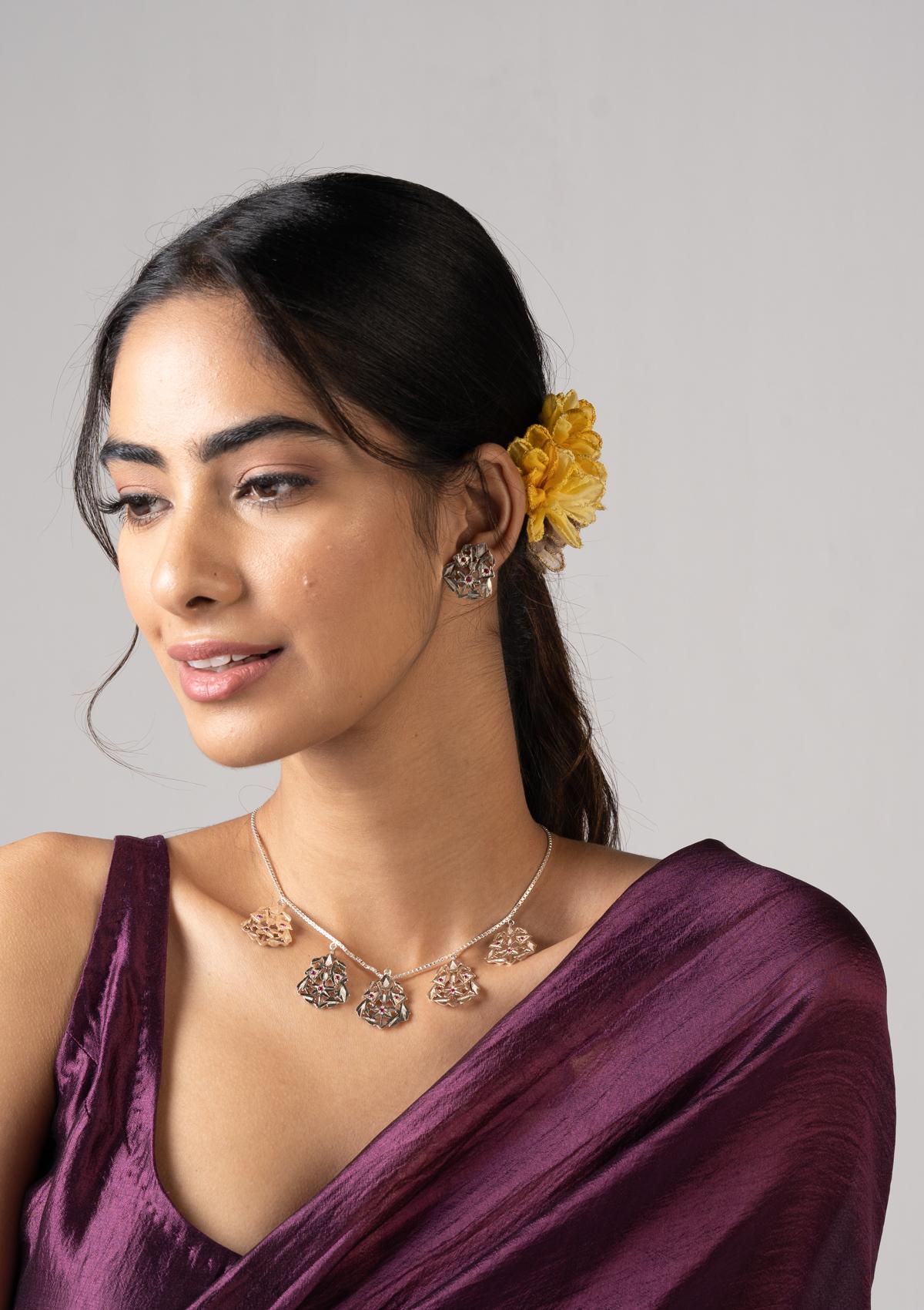 Katiya Silver Necklace & Earrings Set