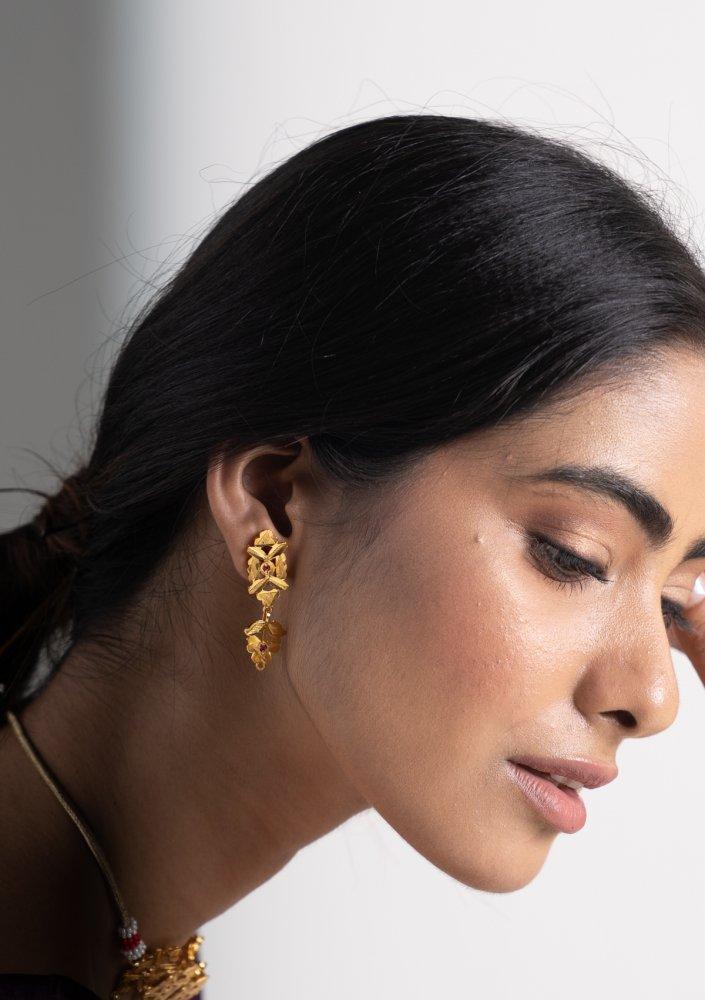 Birva Gold Tone Silver Earrings