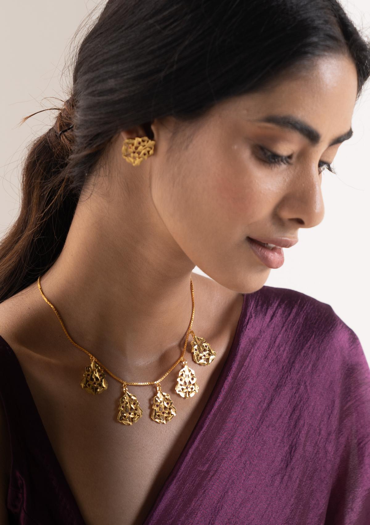 Katiya Gold Tone Silver Necklace & Earrings Set