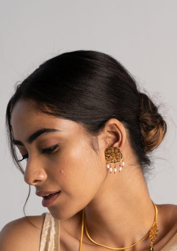 Ekkam Gold Tone Silver Earrings