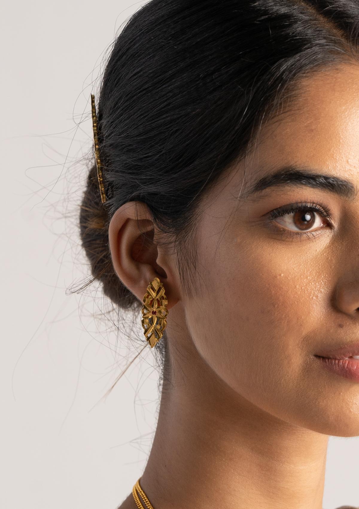 Baleen Gold Tone Silver Earrings