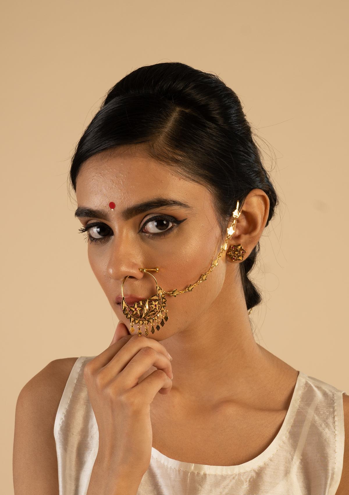 Kishori Gold Tone Silver Nath