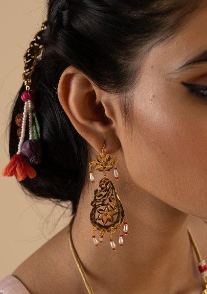 Roopa Gold Tone Silver Earrings