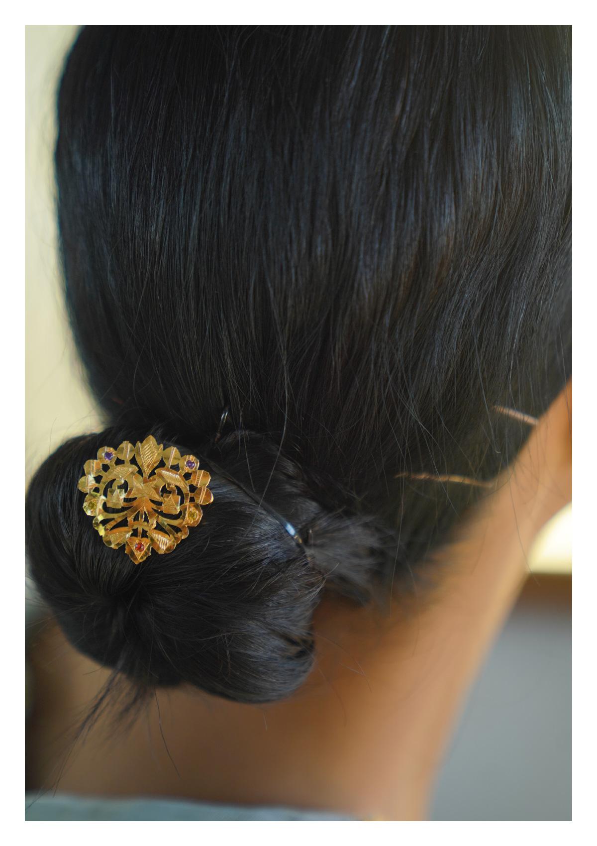 Chandrakala Handmade Gold Tone Silver Juda Pin