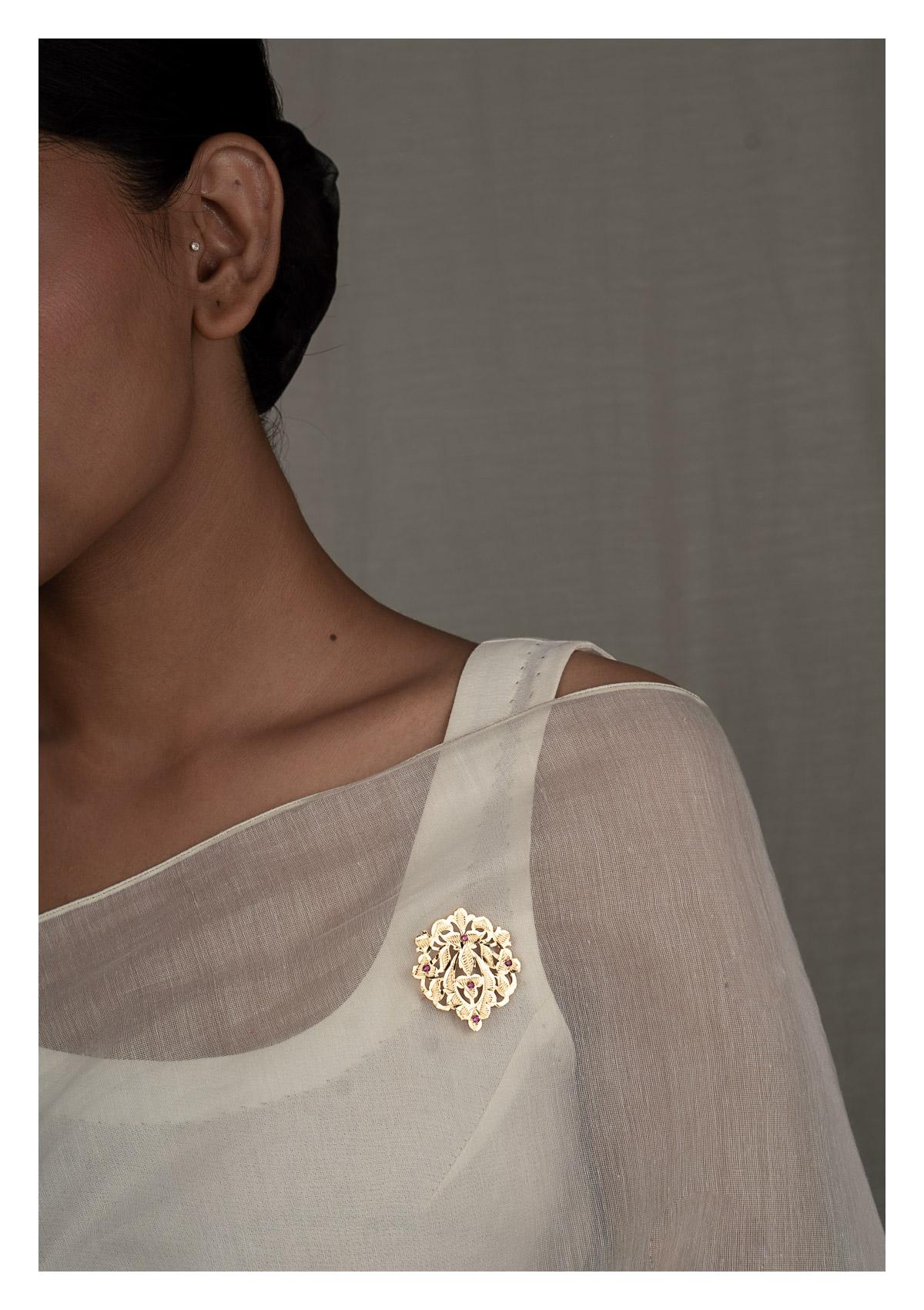 Nadima Gold Tone Silver Brooch