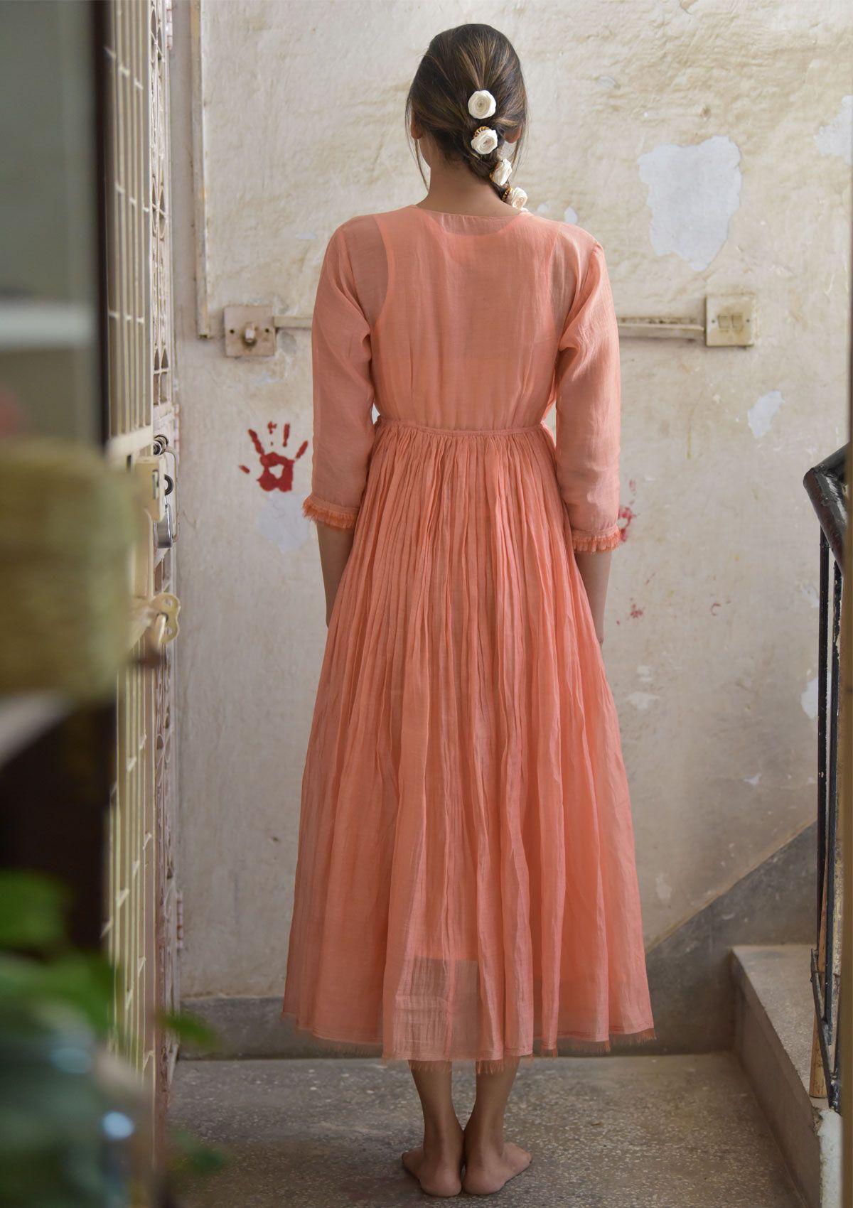 Nahara Peach Double Layered Chanderi Maxi Dress