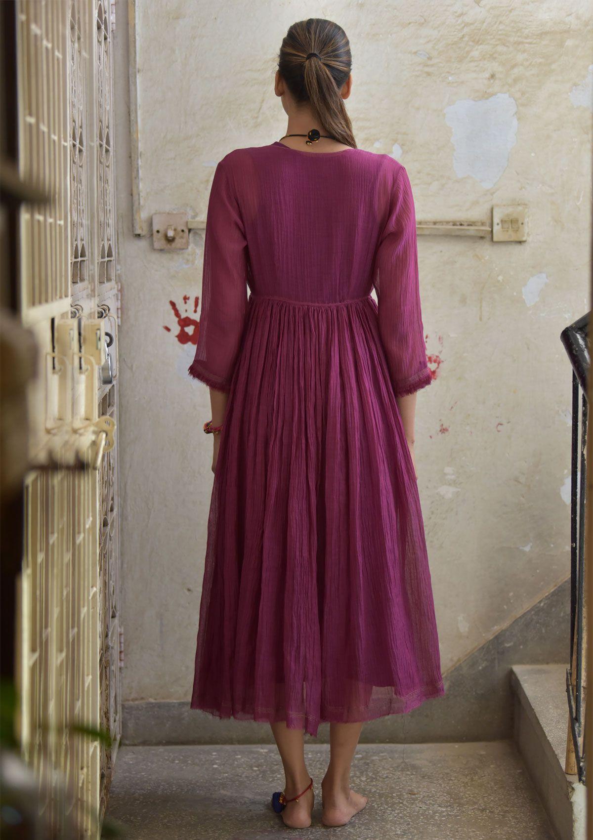 Nahara Purple double layered Chanderi cotton Maxi Dress
