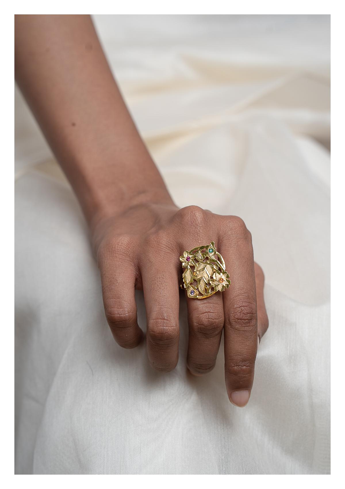 Nalini Gold Tone Silver Ring