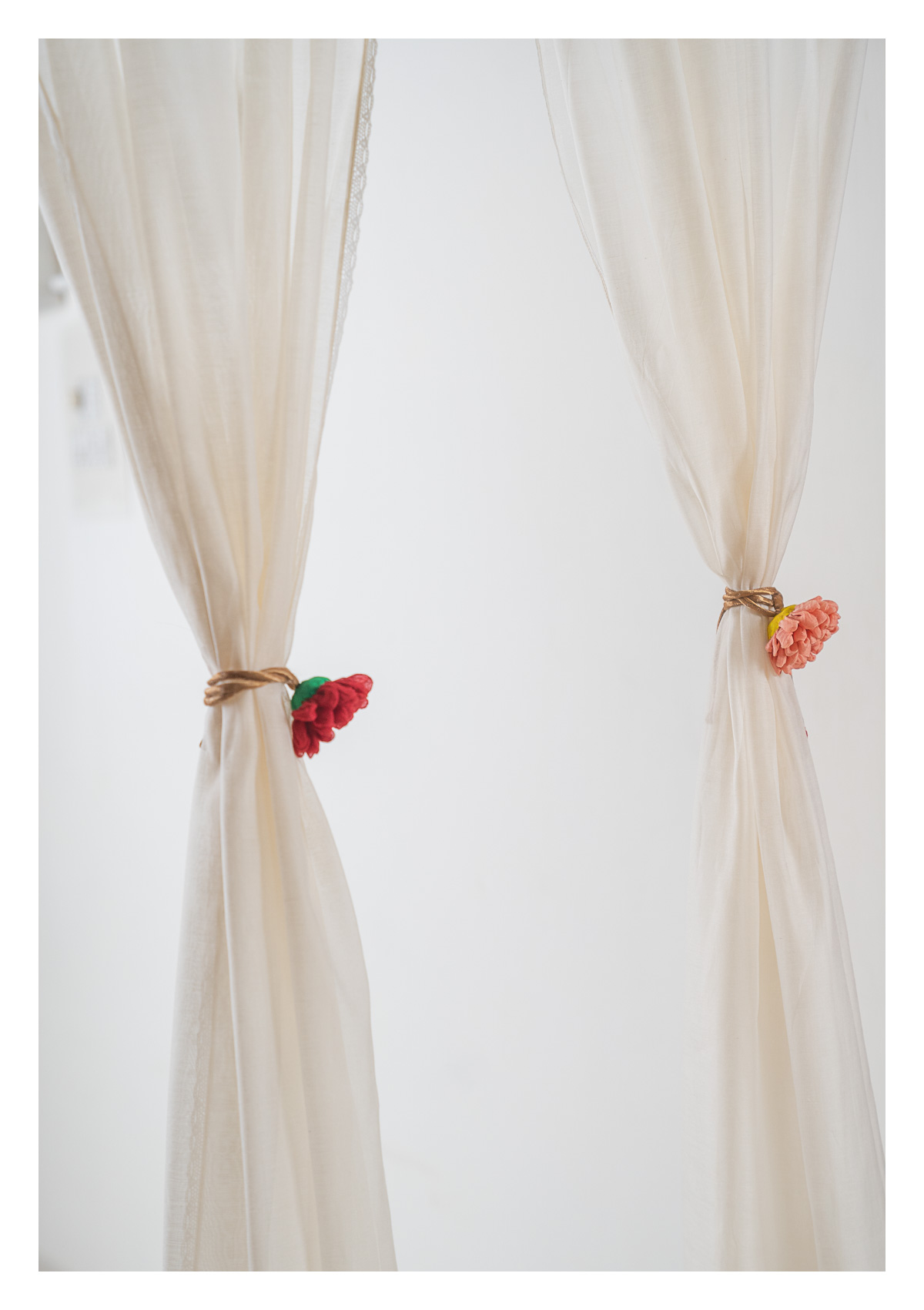 Opal White Chanderi Sheer Curtains- Set of 2