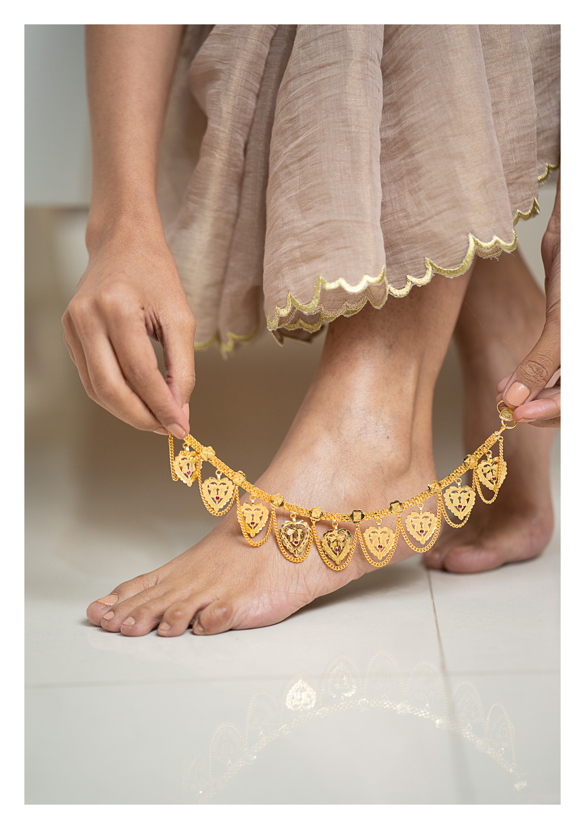 Padmini Gold Tone Silver Anklets