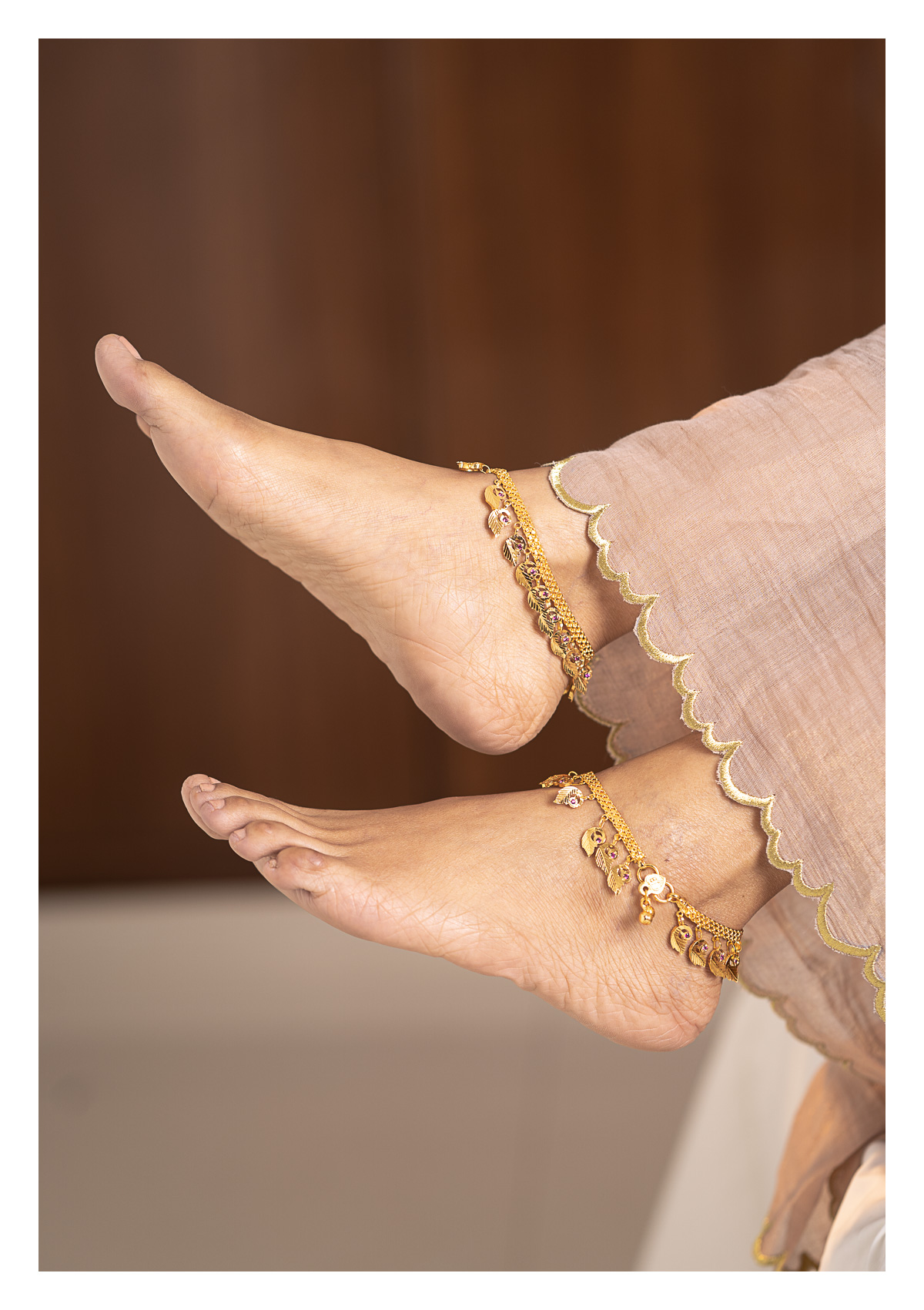 Gauri Gold Tone Silver Anklets