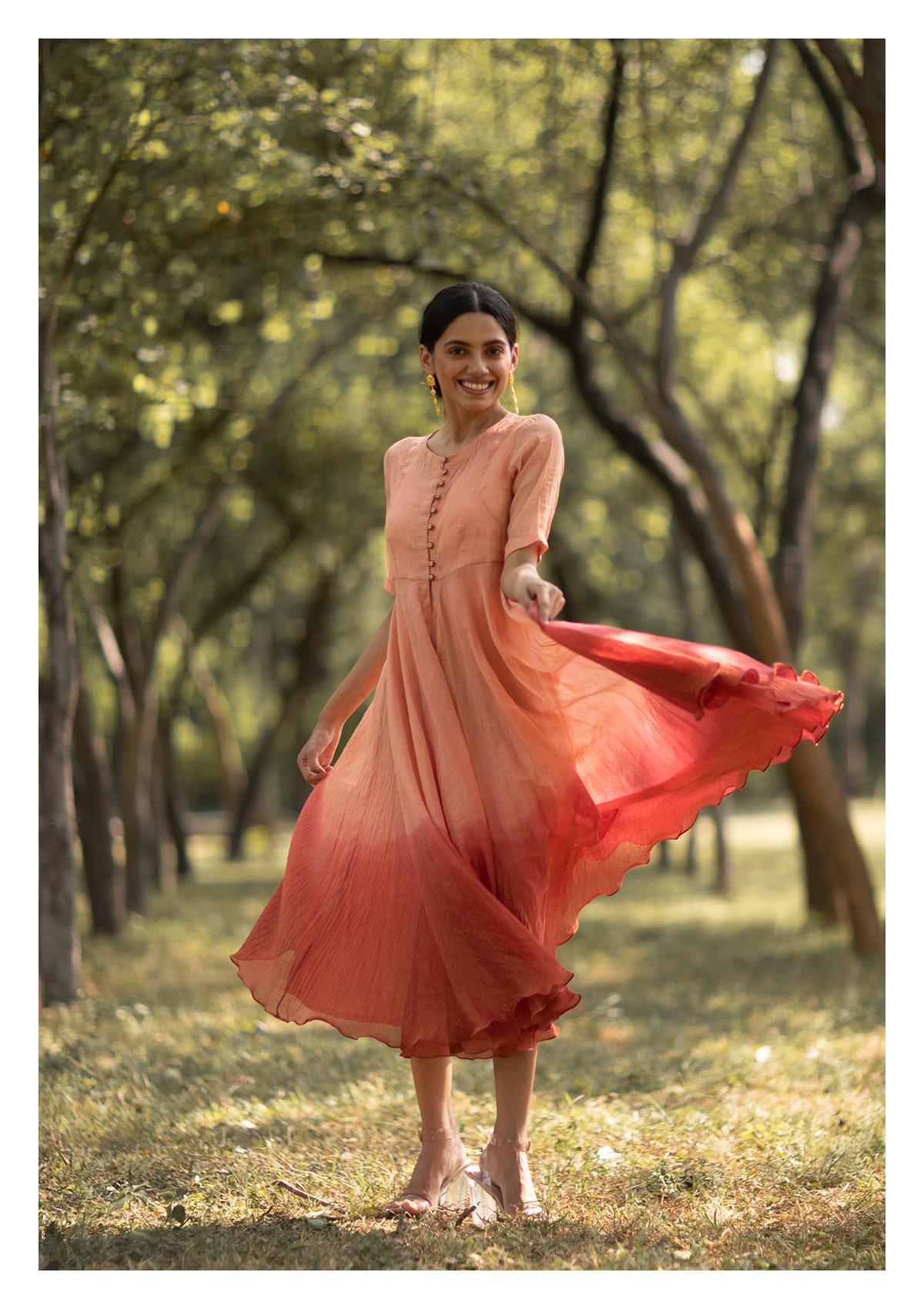 Passion Flower Peach Overlay Dress