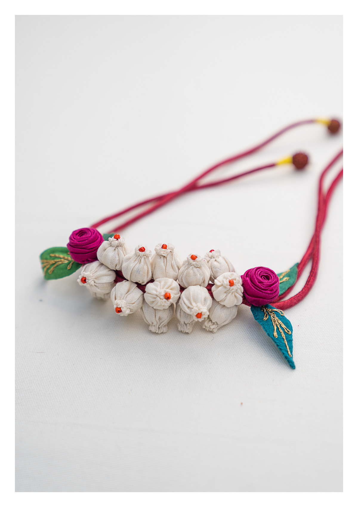 Pearl White Handmade Textile Gajra