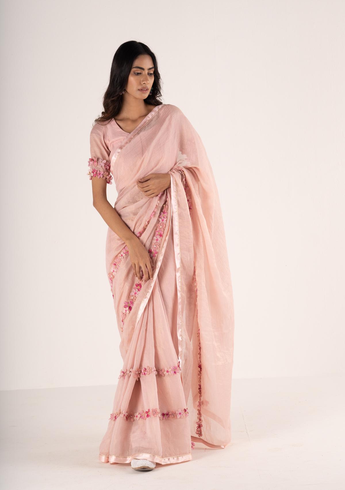 Jashna Pink Tissue Appliqué Saree