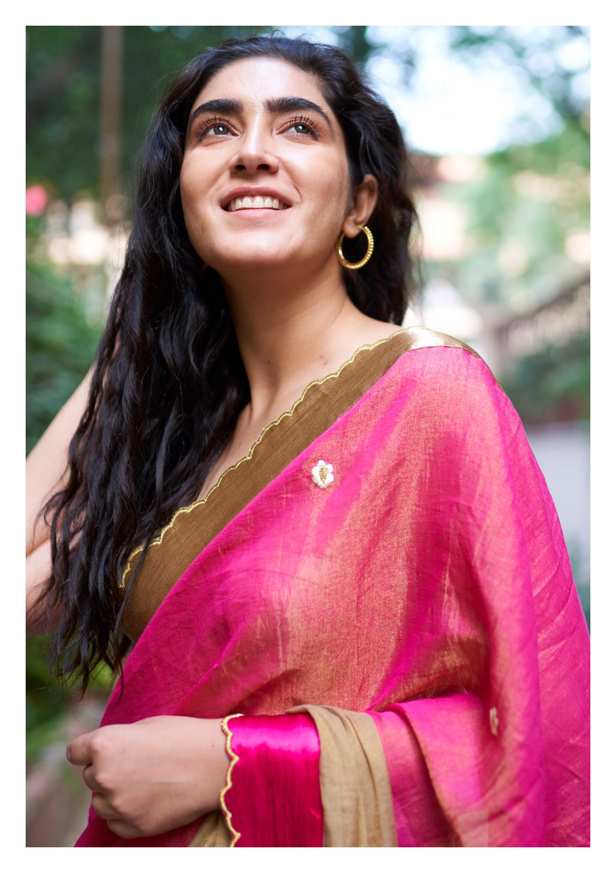 Heather Pinkish Brown Tissue Chanderi Saree