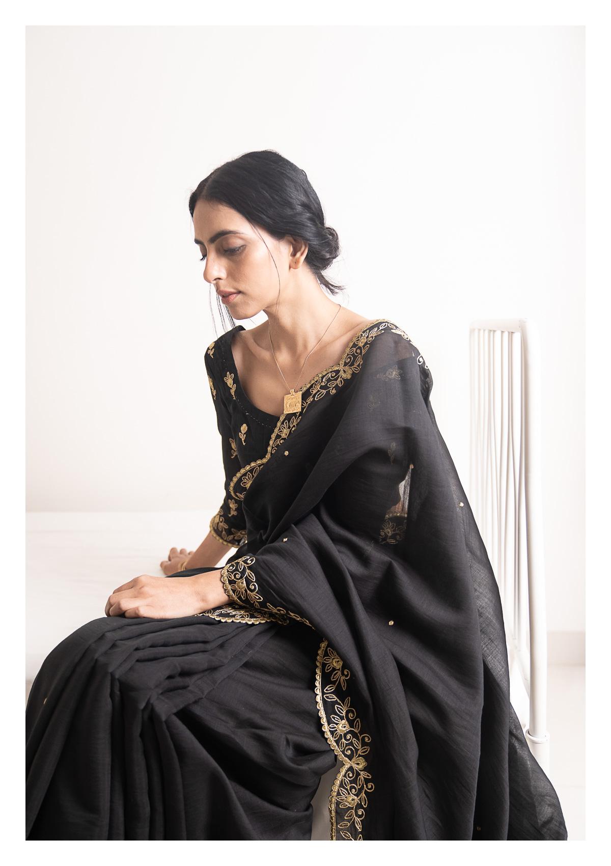 Raatkali Black Chanderi Saree