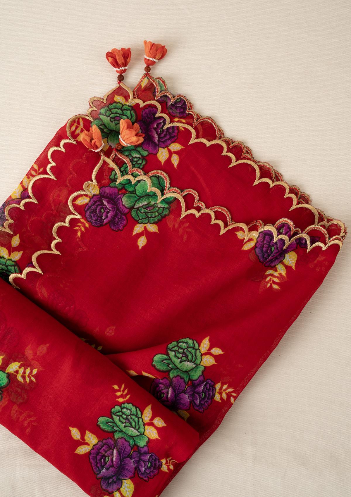 Laali Red Cotton Dupatta