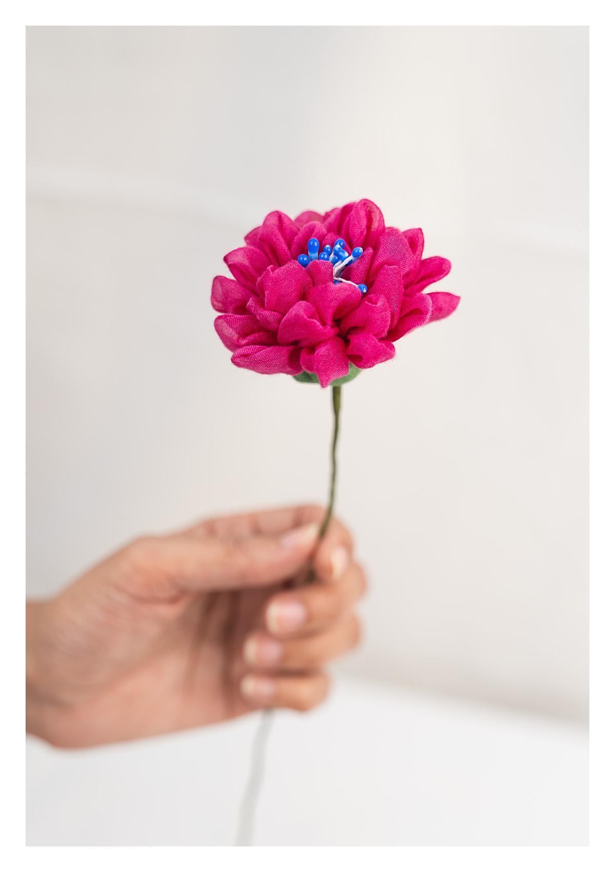 Kathia Pink Textile Flower Stick