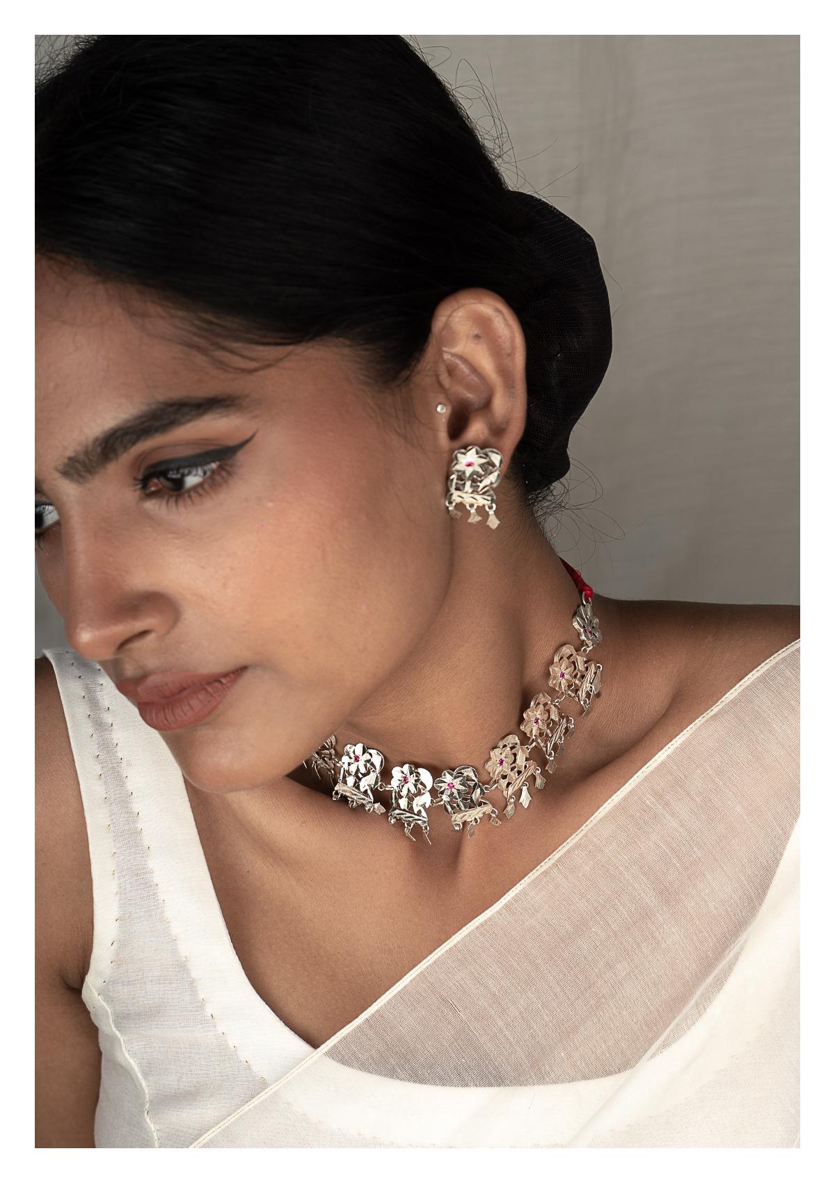 Reshma Silver Necklace & Earrings Set