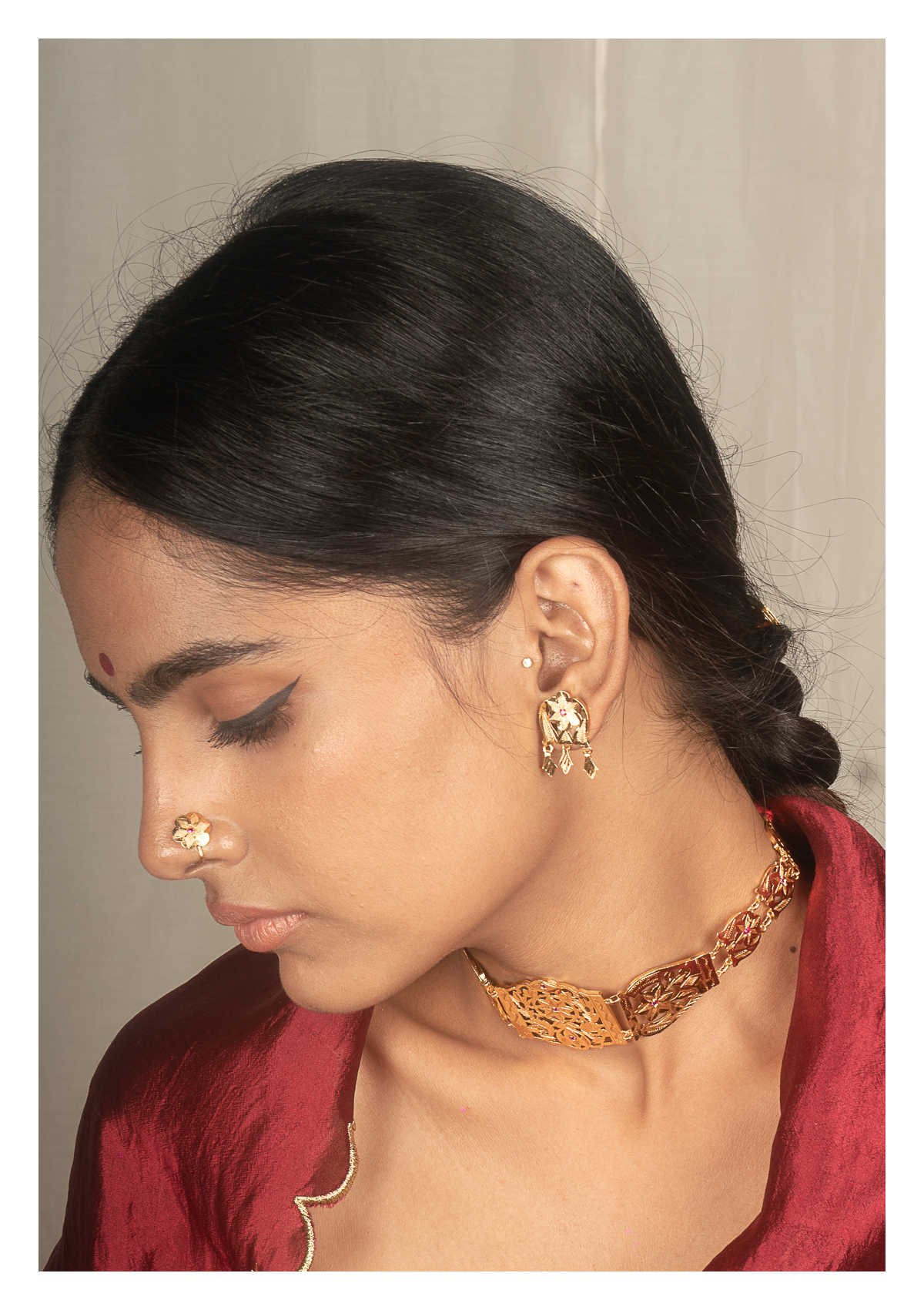 Rukhsa Gold Tone Silver Necklace & Earrings Set