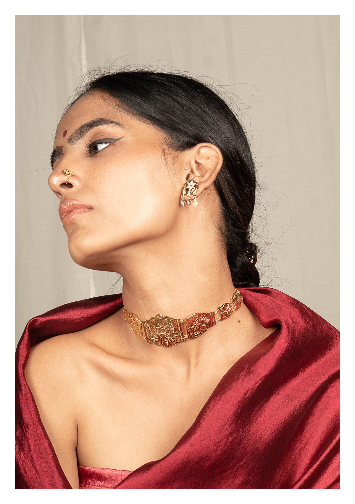 Badami Gold Tone Silver Necklace