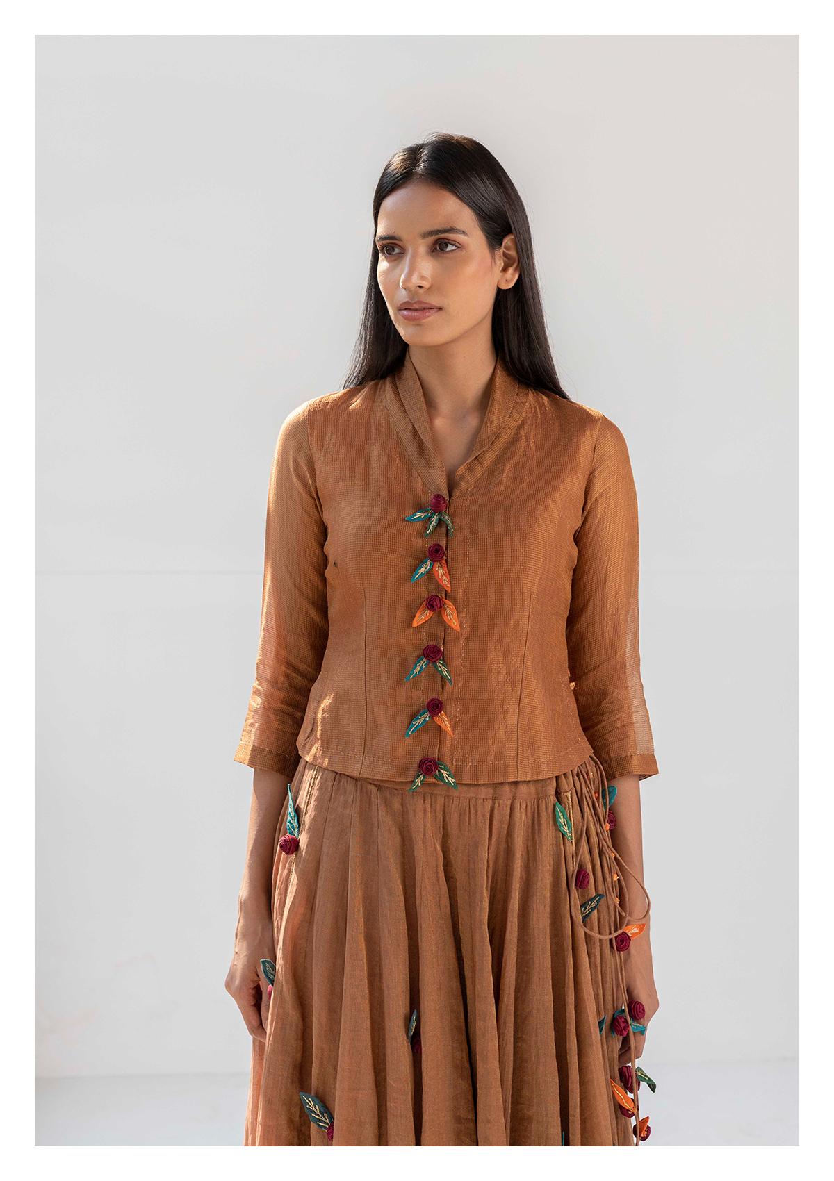 Saafi Brown Tissue Blouse