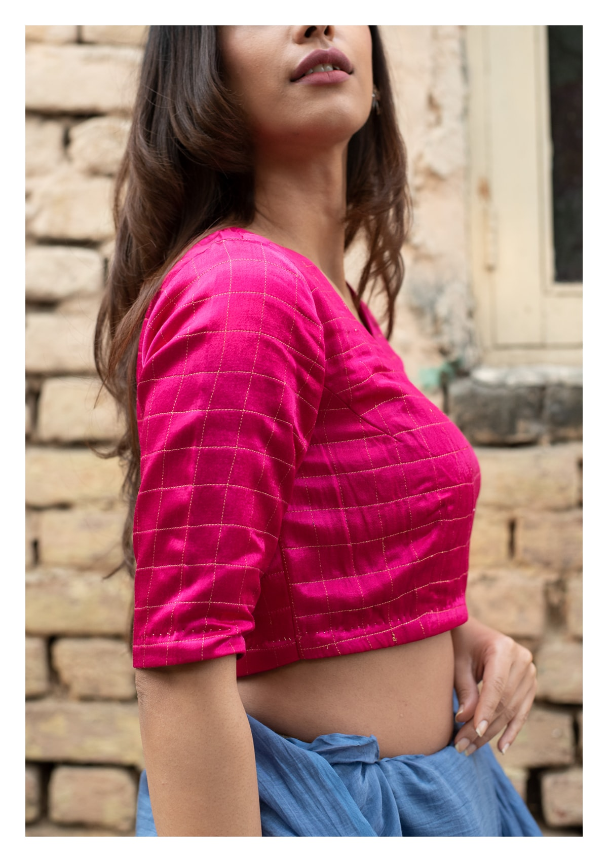Rosana Hot Pink Mashru Blouse